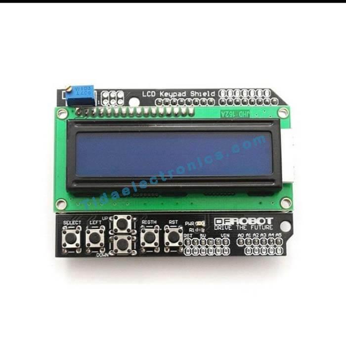 شیلد نمایشگر ال سی دی کاراکتری آردینو با کیپد Arduino Shield 2×16 LCD